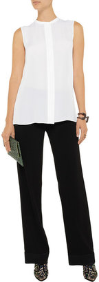 Vince Pleated-back silk top