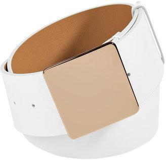 Jil Sander White Leather Square Buckle Belt