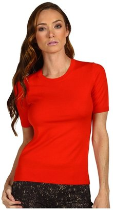 Theory Symon Evian Stretch Top (Bright Geranium) - Apparel