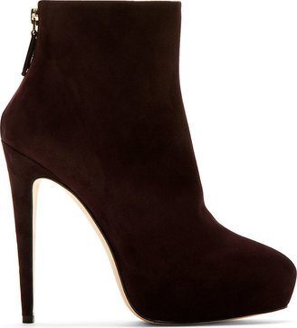 Brian Atwood Plum Suede Platform Gia Ankle Boots