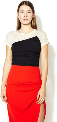 Narciso Rodriguez Ruched Wool Colorblock Top
