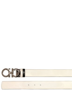 Salvatore Ferragamo 3.5cm Reversible Saffiano Leather Belt