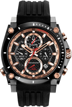 Bulova Men's Chronograph Precisionist Black Rubber Strap Watch 47mm 98B181