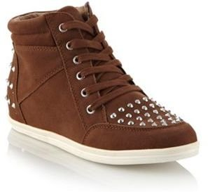 Call it SPRING Tan studded high top trainers