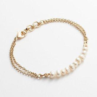 Lauren Conrad gold tone simulated pearl multistrand bracelet