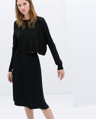 Zara Knee-Length Fine Pleat Skirt