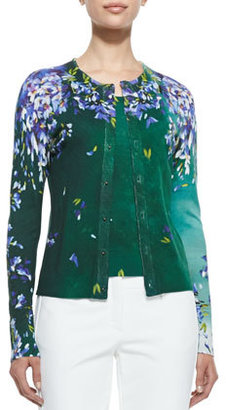 Escada Long Sleeve Floral Cardigan, Green/Violet