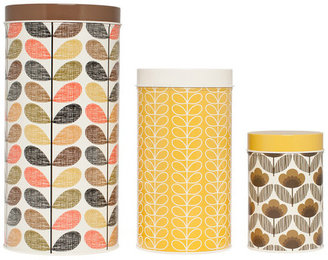 Orla Kiely Canisters Brown Yellow Set Of 3