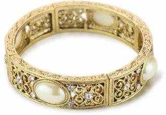 1928 Jewelry Her Majesties Faux Pearl Stretch Bracelet