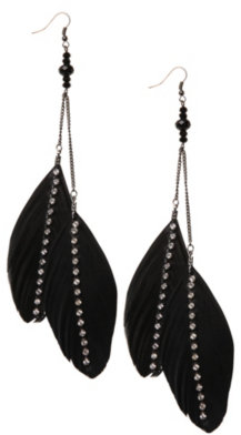 Black Feather With Rhinestone Bar Earring