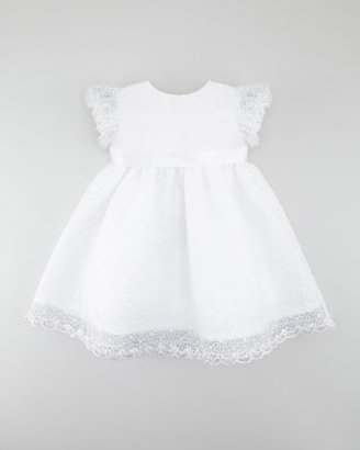 Joan Calabrese Embroidered Organza Dress, White
