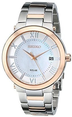 Seiko Women's SNE882 Two-Tone Stainless Steel Watch with Link Bracelet $295 thestylecure.com