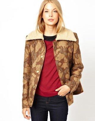 Camo Cooper & Strollbrand Blanket Jacket with Teddy Fur Collar