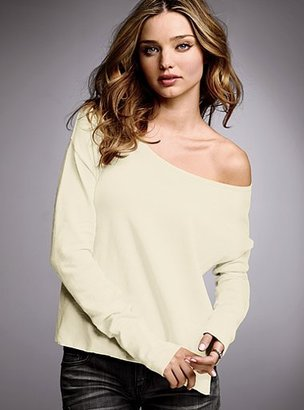 Victoria's Secret Cotton & cashmere off-the-shoulder boatneck sweater