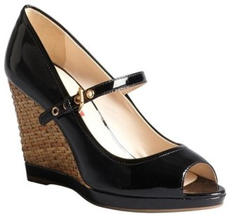 Prada Sport black patent leather basketweve wedges