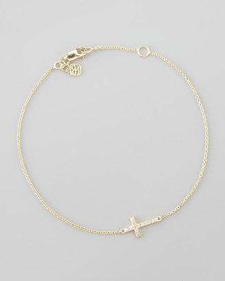 Sydney Evan Small Gold Pave Diamond Cross Bracelet