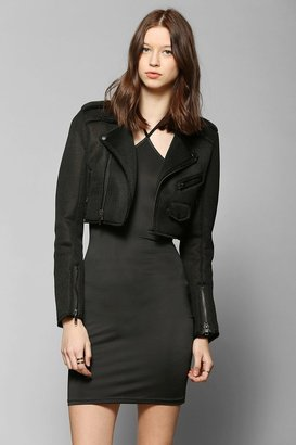 Urban Outfitters UNIF Mesh + Neoprene Cropped Moto Jacket
