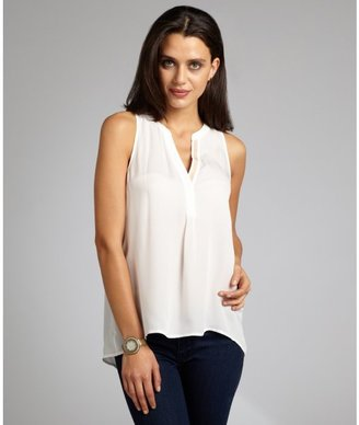 Joie white contrast silk sleeveless blouse