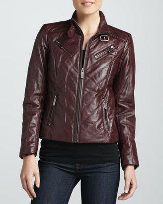 Neiman Marcus Four-Zip Leather Jacket