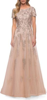 La Femme Tulle Lace A-Line Short-Sleeve Gown