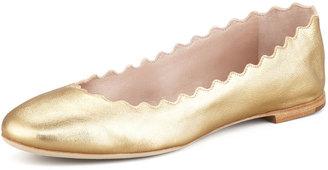 Chloé Scalloped Metallic Leather Ballerina Flat