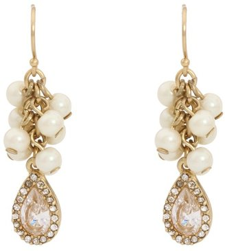 Carolee Retro Pearls Cluster Pearl Pierced Earrings (Gold/White Pearl) - Jewelry