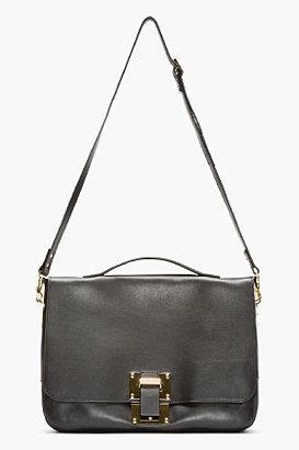 Sophie Hulme Black Leather Flap Messenger Bag