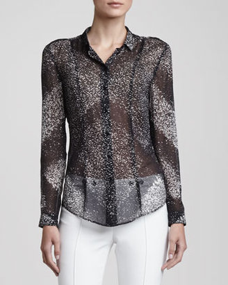 Burberry Semisheer Button-Up Blouse, Black/White