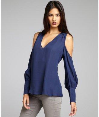 Chelsea Flower navy silk 'Cold Shoulder' blouse