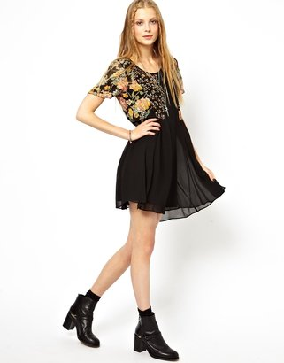 Asos Skater Dress In Cut About Print