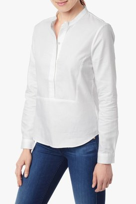 7 For All Mankind Mandarin Collar Popover Blouse In Blanc De Blanc