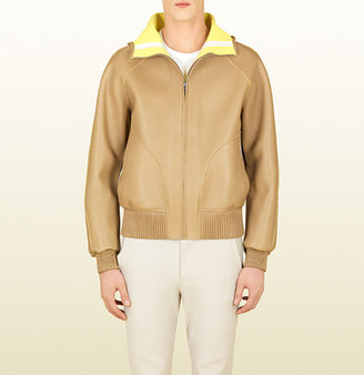 Gucci Beige Leather Hooded Bomber Jacket