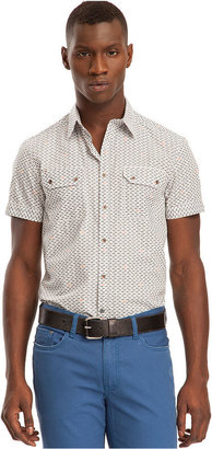 Kenneth Cole Reaction Shirt, Short Sleeve Button Front Shark Print Shirt
