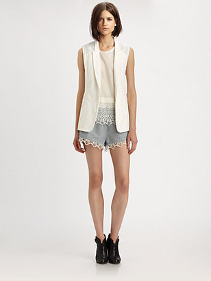 Rag and Bone Rag & Bone Finn Cotton & Leather Vest