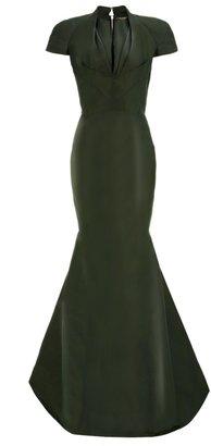 Zac Posen Forest Silk Draped Collar Gown