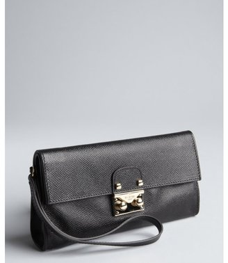 Valentino black grained leather 'Necessaire' wristlet