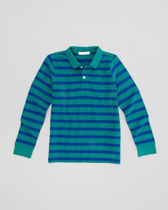 Burberry Striped Long-Sleeve Polo, Green/Blue, Sizes 4-10
