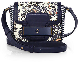 Tory Burch Floral print Mixed Media Shoulder Bag