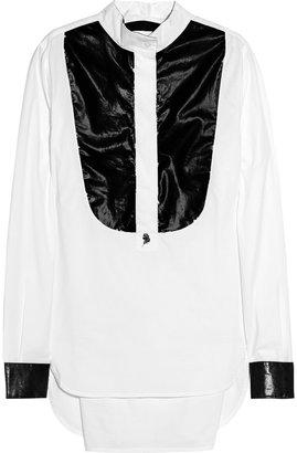 Karl Lagerfeld Blanca PVC-front cotton-poplin shirt