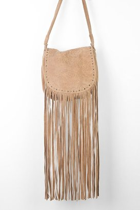 Urban Outfitters Ecote Winding Road Suede Fringe Crossbody Bag