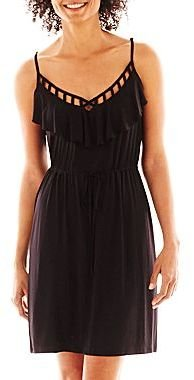 JCPenney a.n.a® Ruffled-Neck Cutout Dress