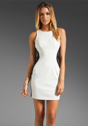 Eight Sixty Colorblock Body Con Dress in Ivory/Black