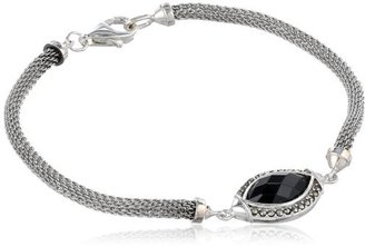 "Judith Jack Mesh Items"" Marcasite and Black Agate Mesh Line Bracelet, 7.5"""
