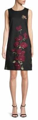 Karl Lagerfeld Paris Floral Embroidered Mesh Sheath Dress