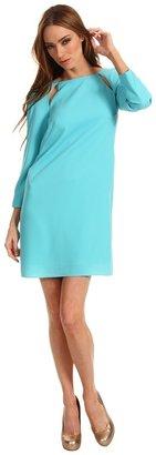 Tibi Peekaboo Shift Dress (Aqua) - Apparel