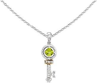 Sterling & 14K Peridot & Diamond Key Pendant w/Chain