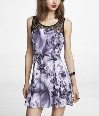 Express Lace Yoke Printed Fit And Flare Dress