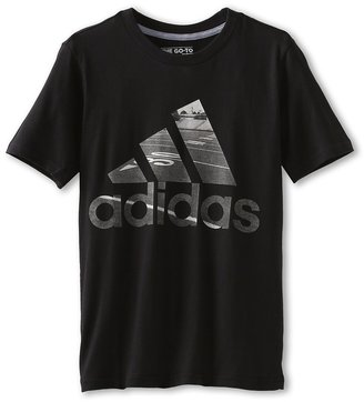 adidas Kids - Photo Logo Short-Sleeve Football Tee (Little Kids/Big Kids) (Black) - Apparel