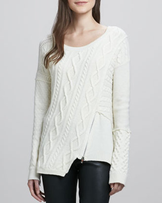 Elizabeth and James Asymmetric Zip-Detail Pullover