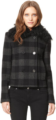 Michael Kors Shearling-Collar Pea Coat